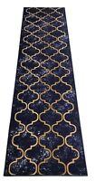 Custom Size Navy Blue Trellis indoor Hallway Runner Rug Non Skid Slip Resistant