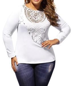 Women Top White Long Sleeve Lace Neck Curvy Plus Size