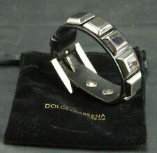 DOLCE & GABBANA ROCKER ITALY METAL BLACK LEATHER BRACELET