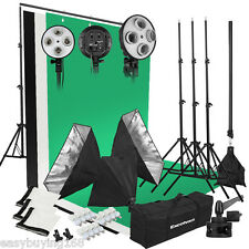 Photo Studio Photographie Continu Kit Softbox+Trépied+3 Toiles de Fond 2000W FR