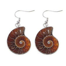 Silver Plated Natural Ammonite Fossil Slice Shell Gemstone Dangle Hook Earrings