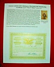 1847 EAGLE ARTILLERY Baltimore, Maryland MEMBER CERTIFICATE signed GEO. P. KANE