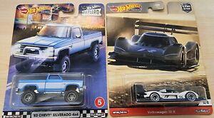 Hot Wheels Premiums - '83 Chevy Silverado 4x4 & VW ID R