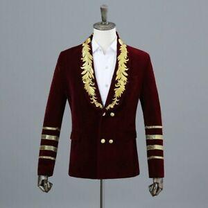 Mens Embroidered Velvet Suit Blazer Groom Wedding Formal Party Short CoatJacket