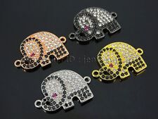 Clear Zircon Gemstones Pave Elephant Bracelet Connector Charm Beads Silver Gold