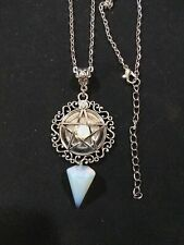 White Witch Necklace, Pagan Necklace, Wicca Necklace, Pentacle Wicca, Pentagram,
