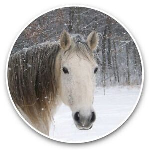 2 x Vinyl Stickers 20cm  - Beautiful Horse in Snowy Forest  #44251