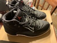 Nike Air Jordan 12 Retro Black Nylon / Neoprene Gym Red 130690-004 SZ 10.5