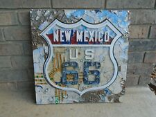 original LICENSE PLATE ART New Mexico SHIELD Highway Sign made w ROUTE 66 plates