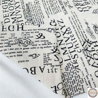 Vintage Retro Letter European Printed Cotton Linen Fabric Upholstery Material