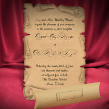 100 Scroll Kraft Wedding Invitations Unique Cards Medieval Style Free Shipping