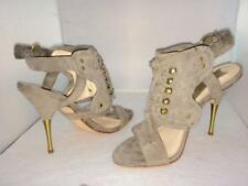 BOUTIQUE 9 Taupe Gold Leather Suede High Heel Women's Shoes Sandals NEW - 7.5M