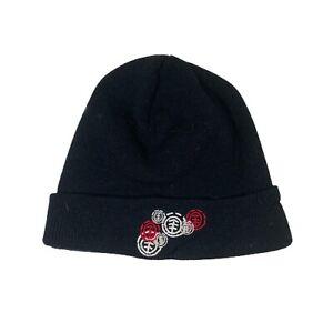 Element Crowns Beanie Hat - Flint Black Skull Cap Ski Skiing Knitted