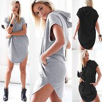 Women Short Sleeve Hoodie T Shirt Mini Dress Summer Baggy Loose Long Tops Blouse