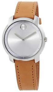 Brand new women's Movado Bold 3600473 Silver Dial Light Brown Leather Watch