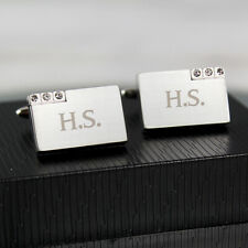 Personalised Rectangle Cufflinks with Crystal Detail: Engraved Free: Valentines
