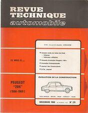 REVUE TECHNIQUE AUTOMOBILE 271 RTA 1968 PEUGEOT 204 + COUPE CABRIOLET 1966 1969