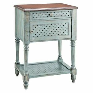 NEW FRENCH HAND PAINTED ANTIQUE BLUE PIERCED Wood SOFA CHAIR SIDE END Table