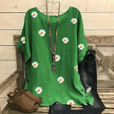 Summer Womens Casual Short Sleeve T Shirt Round Neck Floral Tops Loose Blouse