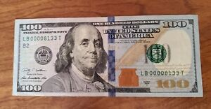 FANCY $100 One Hundred Dollar Bill Series 2009 Low Serial Number LB 00008133T