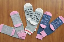 Set 3 Pairs - Bring Me Wine Crew Socks Funny Novelty Gifts Cotton Wine Lovers