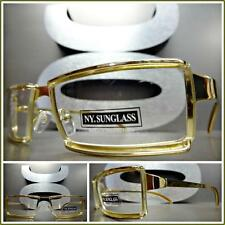 Men's CONTEMPORARY MODERN Style Clear Lens EYE GLASSES Gold Metal Fashion Frame