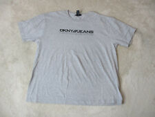 VINTAGE DKNY USA Shirt Adult 2XL XXL Gray Black Spell Out Box Logo Mens 90s