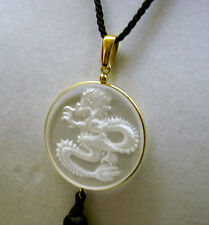 Authentic $595 LALIQUE China Mood DRAGON Clear Crystal Pendant Necklace NIB