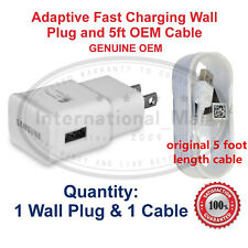 OEM Samsung Galaxy S6 S7 Note 4 5 Fast Charging Micro USB Wall Charger 5FT Cord
