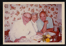 Vintage Photograph Three People Sitting by Birthday Cake - Retro Wallpaper