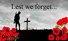 LEST WE FORGET FLAG 5' x 3' Poppy Poppies WW1 WW2  RAF British Army Royal Navy