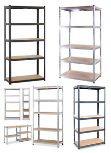 5 tier heavy duty metal shelving garage racking boltless storage shelf 2 sizes
