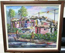Sanba Haitian Street Scene Original Oil On Canvas Painting