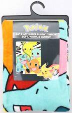 Pokemon Pikachu Bulbasaur Charmander Squirtle Throw Blanket 46x60 with hanger