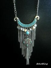 Necklace Silver Moroccan Tassel Hippie Boho Gypsy Tribal Bohemian N1078