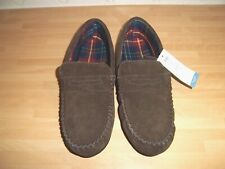 Marks & Spencers mens brown real suede moccasin slippers size 11 new