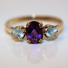 Stunning Amethyst Topaz 9ct Yellow Gold Trilogy Ring Size O ~ US 7 1/4