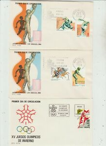 Spain  3 FDC 1984 Summer Olympics  1988 Winter Olympics