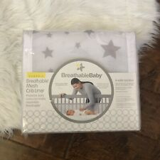 BreathableBaby Crib Liner Classic Breathable Mesh Starlight White Gray New