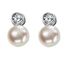 Pearl Cubic Zirconia Stud Costume Earrings