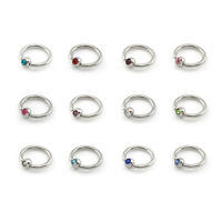 Ball Closure Captive Ring BCR with CRYSTAL GEMS, Lip Nose Ear Tragus Septum Ring