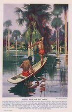 Gli INDIANI Pesca Con Fiocco & FRECCE Rio Negro Vintage Anni 1930 ORIGINALE ex libris