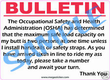 """OSHA""  The Maximum Safe Workload On My Ass Sticker Funny Jobsite Regulation New"