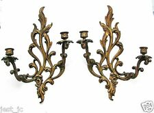 "Vintage Pair of Brass Cast 2-Arm Wall Sconces, Candle holders 16 1/2"" Nice"