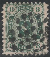 ^^^^^^^^^^ FINLAND #19  8p green, p. 11, used, VF, SUPERB CANCEL ! ^^^^^^^