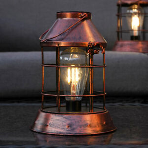 Solar Power Outdoor Copper Filament Style LED Light Up Hanging Lantern | Garden