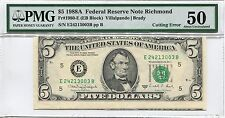 1988 A $5 Cutting Error Pmg 50 About Uncirculated Frn Richmond Five Note Bill