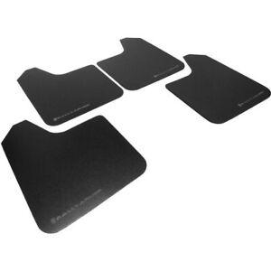 Rally Armor Basic Universal Mud Flaps Set/4 No HW Blk w/ Black Logo MF12-BAS-BLK