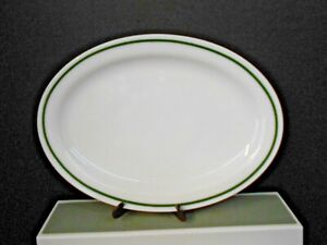 """ANCHOR HOCKING ANCHORWARE MILK WHITE OVAL PLATER 12 1/2"""" GREEN STRIPE PRE-OWNED"""
