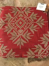"1 RARE NWT'S POTTERY BARN SNOWFLAKE CROSS-STITCH PILLOW COVER RED FLAX 24"" NEW"